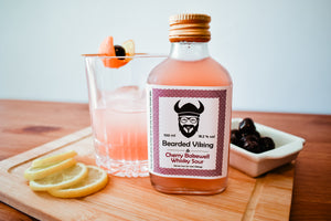 Ready to drink bottled cherry bakewell whisky sour cocktail by Bearded Viking Drinks