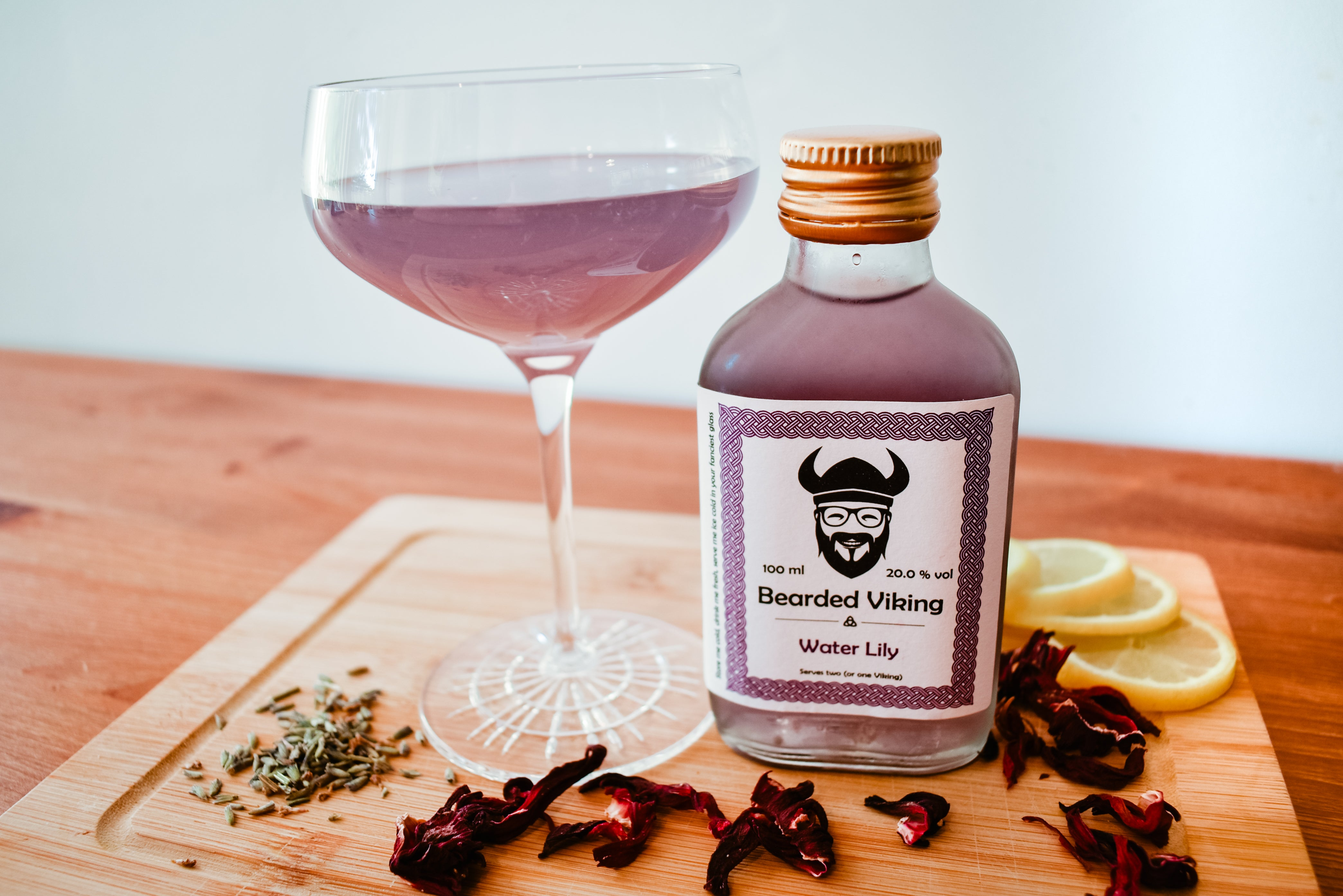 Ready to drink bottled water lily cocktail by Bearded Viking Drinks