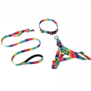 3pcs Printed Nylon Harness, Collar & Leash Set  - Small to Large Dogs