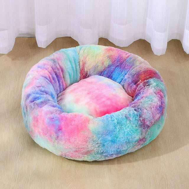Round Tie-dye Plush Cushion Bed