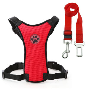Nylon Breathable Mesh Safety Car Seat Belt Dog Harness & Leash Set