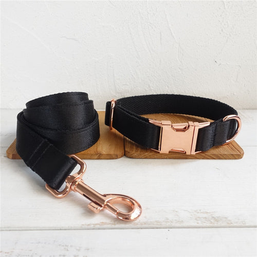 Rose Gold Metal Buckles Collar and Leash Set