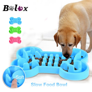 Bone Shape Large Slow Feeding Bowl