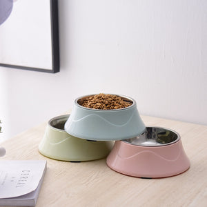 Colored Shell Stainless Steel Pet Feeder Dishes