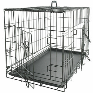 "48"" Black 2 Door Folding Crate w/Divider& Tray"
