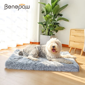 Benepaw Ultra Comfort Orthopedic Foam Plush Dog Bed - Skid-resistant Waterproof Mattress with Removable Cover
