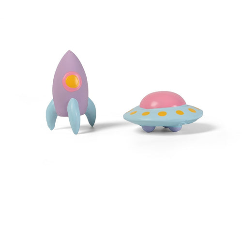 Super Durable UFO & Rocket Rubber Squeaky Chew Toys