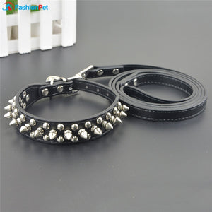 Leather Round Spikes Studded Collar & Leash Set