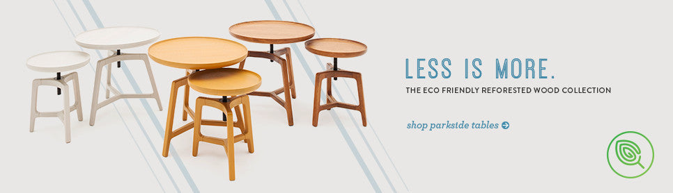 The eco friendly reforested wood collection. Parkside side table.
