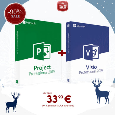 Pack 2 in 1: Microsoft Project & Visio Professional 2019 - Lifetime Licenses for Windows