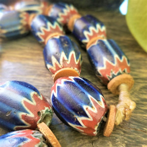 Chevron Beads - Antique Seven Layer with Bodom Bead
