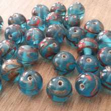 Load image into Gallery viewer, Six Sky Blue Glass Foil Beads