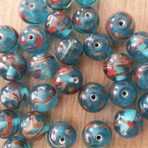 Six Sky Blue Glass Foil Beads