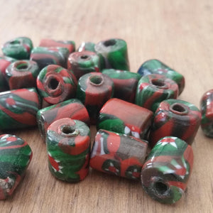 Six Green and Red Millefiori Beads