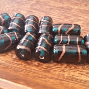 Six India Glass Foil Beads