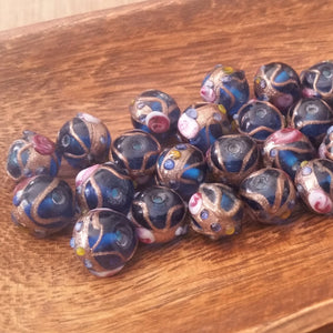 Six Royal Blue Art Glass Beads