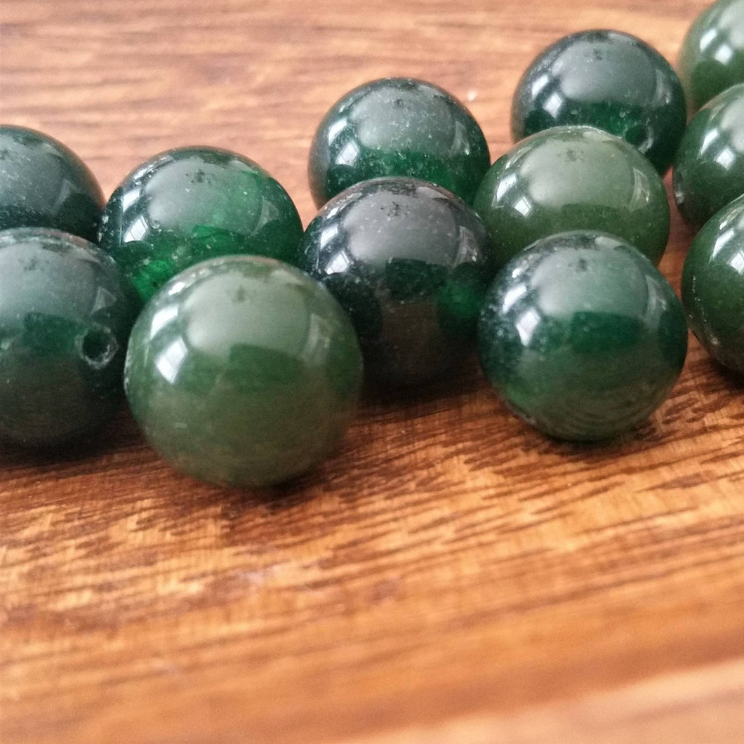 Six Green Agate Beads