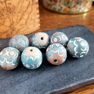 Clay Beads - Large Round Vintage Clay Beads for Macrame