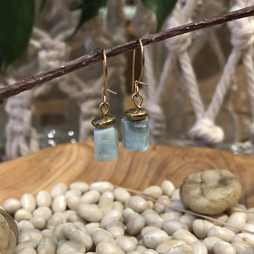 Earrings Brass and Larimar