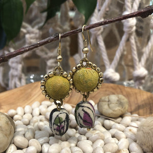 Earrings - Cloth Covered Beads