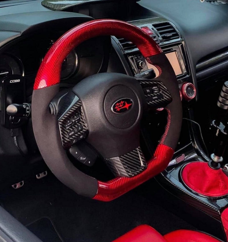 BLACK LEATHER/RED CARBON FIBER STEERING WHEEL WITH RED STITCHING  - 2015+ WRX/STI