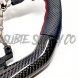 BLACK LEATHER/CARBON FIBER STEERING WHEEL WITH RED STITCHING  - 2015+ WRX/STI