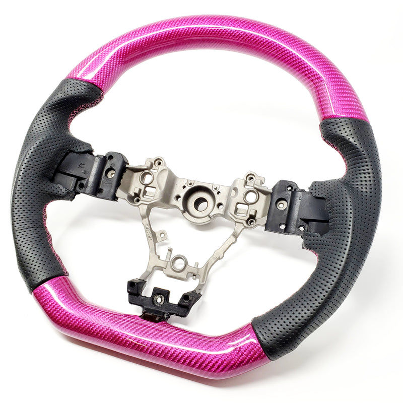 BLACK LEATHER/PINK CARBON FIBER STEERING WHEEL WITH PINK STITCHING  - 2015+ WRX/STI