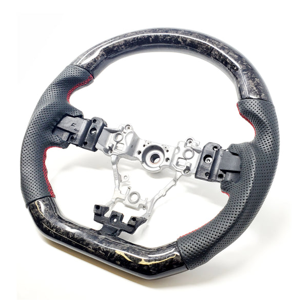 BLACK LEATHER/FORGED CARBON FIBER STEERING WHEEL WITH RED STITCHING  - 2015+ WRX/STI