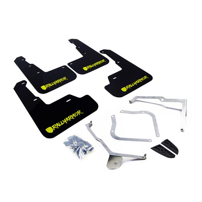 RALLY ARMOR UR MUDFLAPS - NEW ERA - BLACK/NEON YELLOW LOGO - 2015+ WRX, 2015+ STI