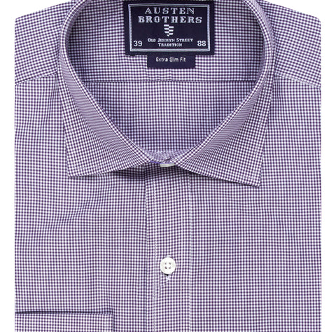 Ready Made - Dark Purple Check Poplin - Extra Slim Fit
