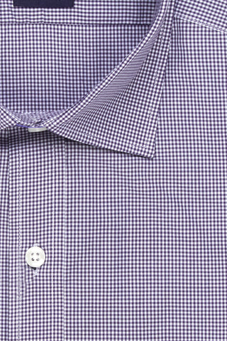 SALE SHIRT - Dark Purple Check Poplin - Extra Slim Fit
