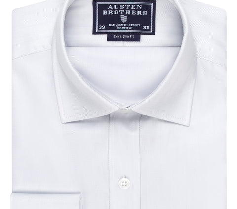 SALE SHIRTS - Silver Royal Herringbone - Extra Slim Fit