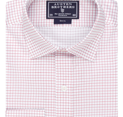 SALE SHIRTS - Red Fine Check Twill Shirt - Slim Fit