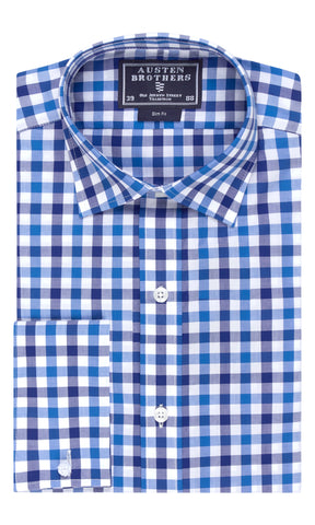SALE SHIRTS - Navy Blue Bold Check Poplin Shirt - Slim Fit
