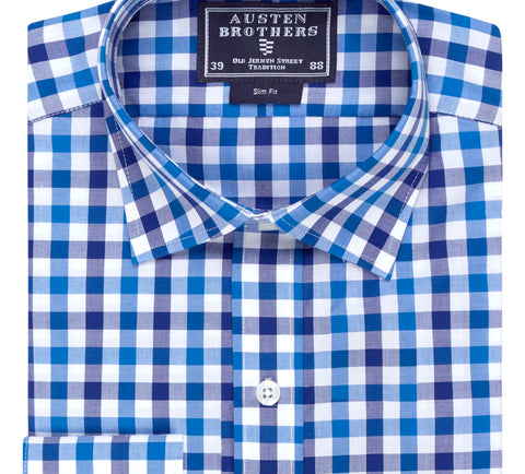 Ready Made - Navy Blue Bold Check Poplin Shirt - Slim Fit
