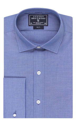 SALE SHIRT - Blue Plain Weave Poplin Shirt - Slim Fit