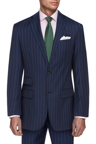Navy Striped Fine Merino Wool Suit