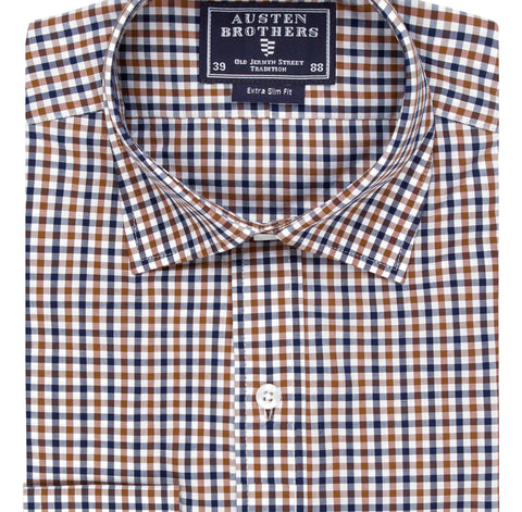 Ready Made - Brown & Navy Check Poplin - Extra Slim Fit