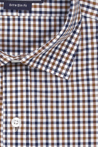 SALE SHIRT - Brown & Navy Check Poplin - Extra Slim Fit