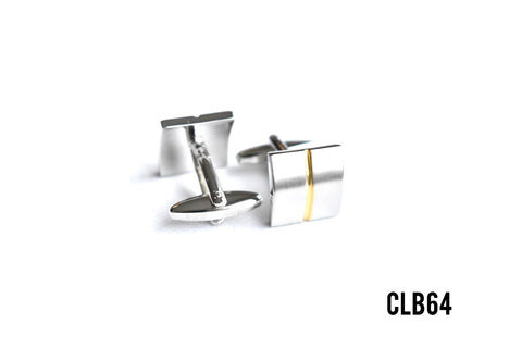 Cufflinks -  CLB64 Silver with Gold Linear Trim