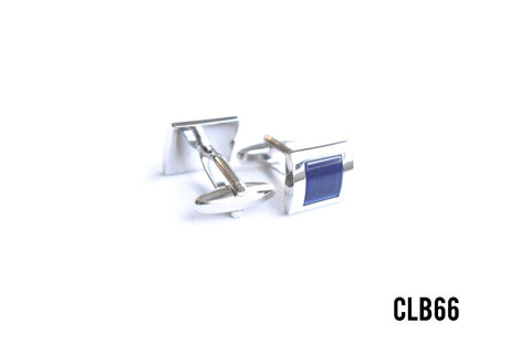 Cufflinks -  CLB66  Silver with Blue Square