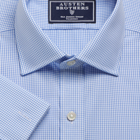 NON IRON Made 2 Order - Micro Gingham Check Blue