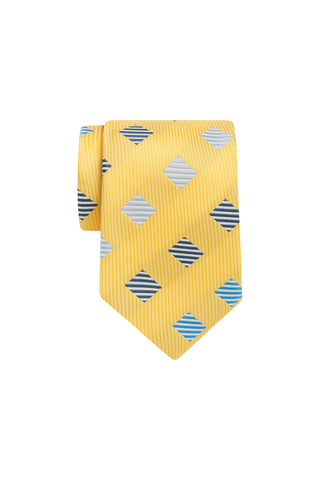 Tie -  Lemon with Blue Square