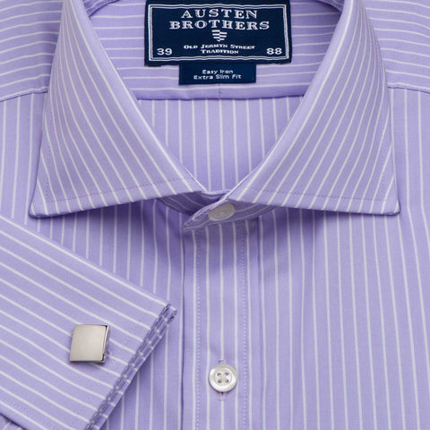 Men's Lilac Coventry Stripe Poplin - Available in Sizes 39, 41, 42, 44