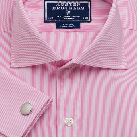 Men's Pink Pencil Stripe Poplin - Available in Size 37