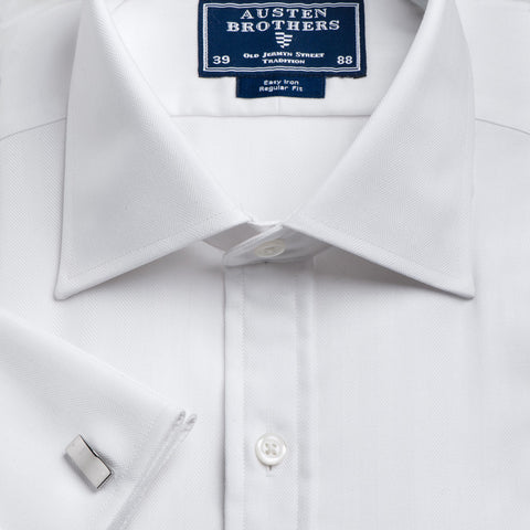 SALE SHIRTS - Herringbone White Royal Twill Shirt - Slim Fit