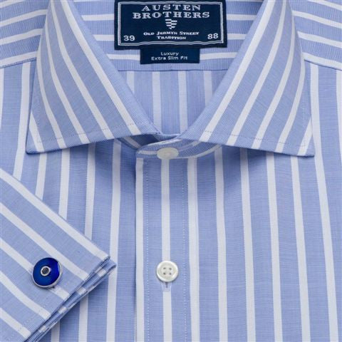 Men's Blue Stripe Poplin - size 37 only