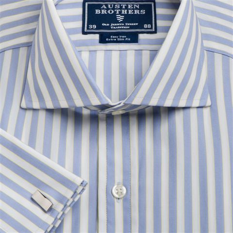 Men's Blue & Yellow Stripe Poplin.  Available in Sizes 39 & 42 Only