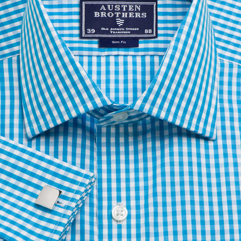 Made 2 Order - Aqua Bold Check Poplin