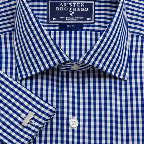 Made 2 Order - Navy Bold Check Poplin
